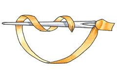 Вышивка лентами: Французский узел