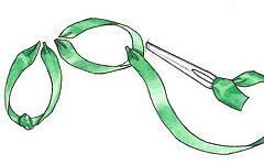 Вышивка лентами: Прямой стежок