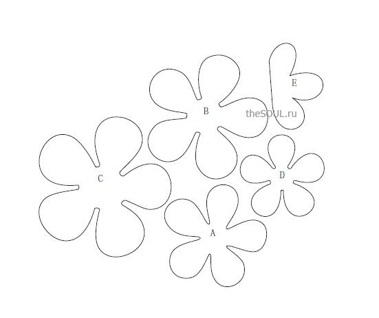 Цветы выкройка из фетра