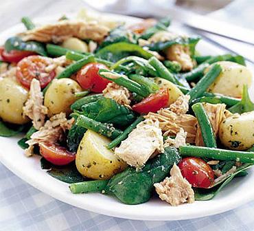 Теплый салат из картофеля с тунцом под соусом песто