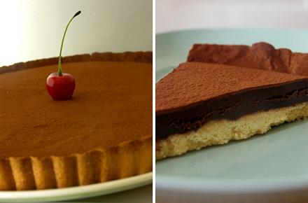 Открытый пирог с шоколадным кремом ганаш