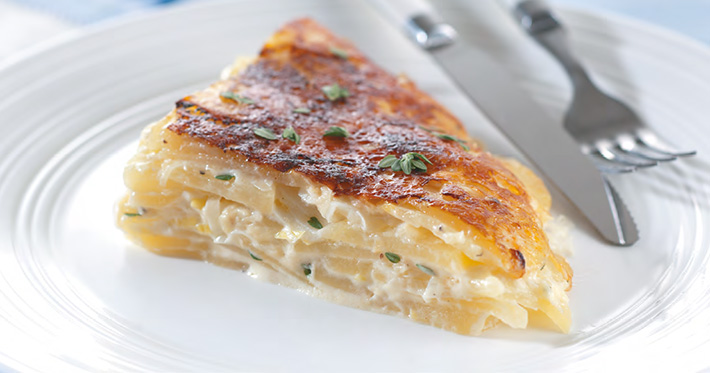 Картофельный гратен (запеканка) с сырной корочкой в мультиварке