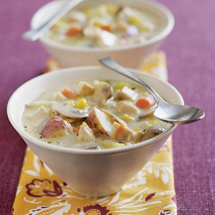 Суп со сливками, курицей и грибами